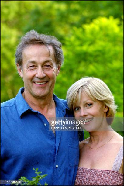 Gerard Klein in the garden of his house of Vedrines with Elisa Servier, actress.