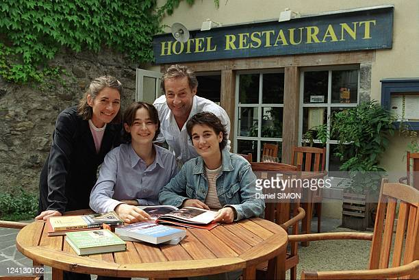 Gerard klein with family in the Massif Central French Region Bougnate In France In July 2000 With Wife Francoise and Daughters Ninon and Melie