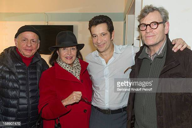 Gerard Lartigau Francoise Fabian French impersonator Laurent Gerra and Tcheky Karyo pose in Gerra's dressing room after attending his show of at...
