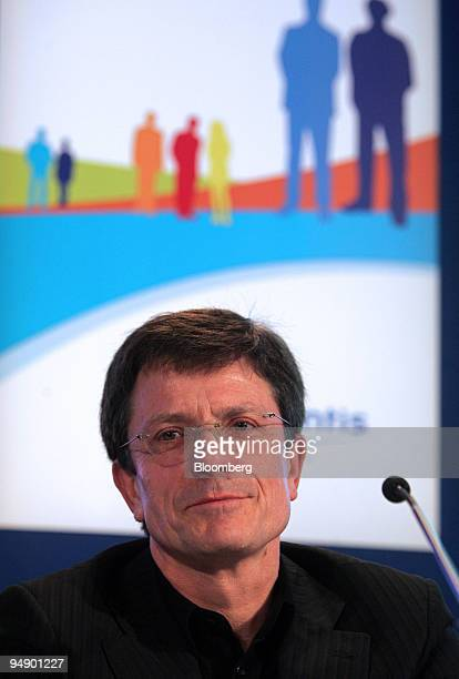 Gerard le Fur chief executive officer of Sanofi Aventis speaks during the presentation of the company's 2007 results in Paris France on Tuesday Feb...