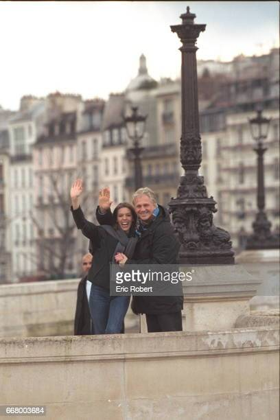 Gerard Lenorman with his daughter Clemence by the Seine in Paris Clemence is an actress