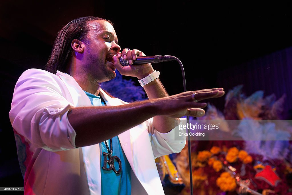 Gerard 'Little Bo' Dollis of The Wild Magnolias Mardi Gras Indians performs at Tipitina's on August 16, 2014 in New Orleans, Louisiana.