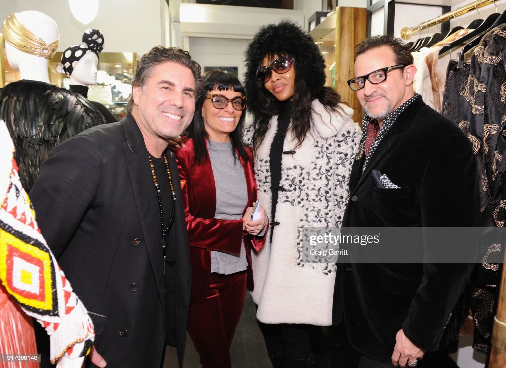 Gerard Maione, Norma Kamali, Naomi Campbell and Seth Weisser attend Vintage For The Future: A Norma Kamali Retrospective by What Goes Around Comes Around on February 13, 2018 in New York City.