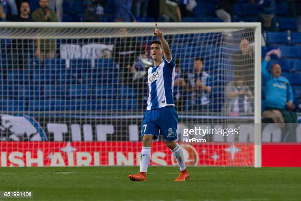 Gerard Moreno celebrates scoring the goal during the match between RCD Espanyol vs Las Palmas for the round 27 of the Liga Santander played at RCD...