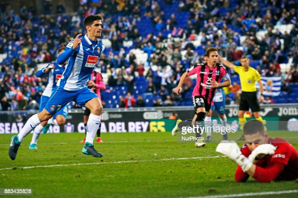 Gerard Moreno goal celebration during the Copa del Rey match between RCD Espanyol and CD Tenerifei n Barcelona on November 30 2017
