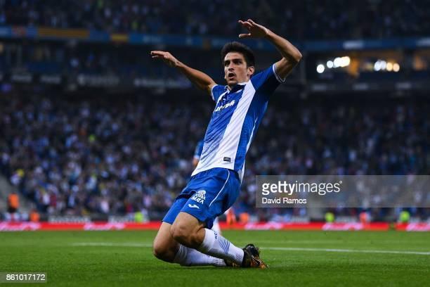 Gerard Moreno of RCD Espanyol celebrates after scoring a disallowed goal during the La Liga match between Espanyol and Levante at Cornella-El Prat...