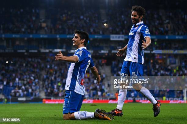 Gerard Moreno of RCD Espanyol celebrates with his team mate Esteban Granero of RCD Espanyol after scoring a disallowed goal during the La Liga match...