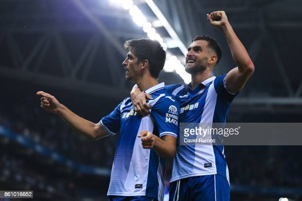 Gerard Moreno of RCD Espanyol celebrates with his team mate Pablo Piatti of RCD Espanyolafter scoring a disallowed goal during the La Liga match...