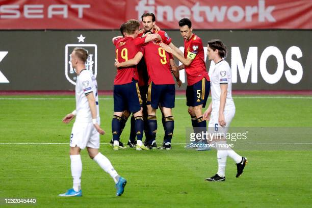 Gerard Moreno of Spain celebrates 3-1 with Dani Olmo of Spain, Sergio Busquets of Spain, Koke of Spain during the World Cup Qualifier match between...