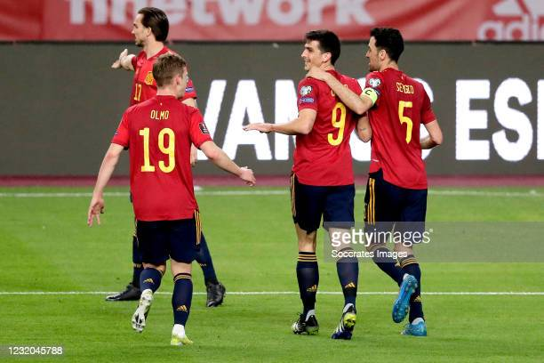 Gerard Moreno of Spain celebrates 3-1 with Dani Olmo of Spain, Sergio Busquets of Spain during the World Cup Qualifier match between Spain v Kosovo...