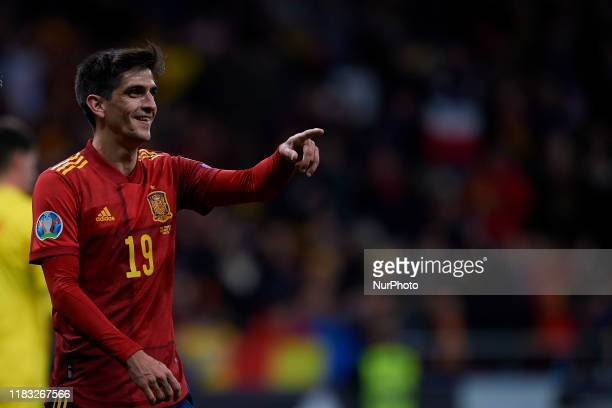 Gerard Moreno of Spain celebrates after scoring his sides second goal during the UEFA Euro 2020 Qualifier between Spain and Romania on November 18...