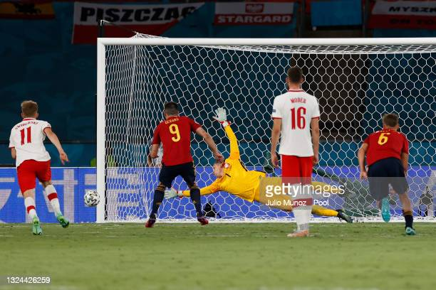 Gerard Moreno of Spain hits the post from a penalty during the UEFA Euro 2020 Championship Group E match between Spain and Poland at Estadio La...