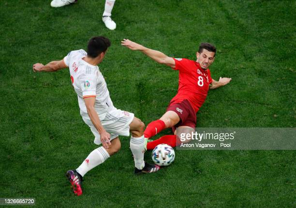 Gerard Moreno of Spain is fouled by Remo Freuler of Switzerland leading to a red card being awarded during the UEFA Euro 2020 Championship...