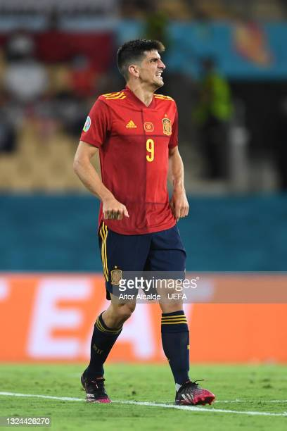 Gerard Moreno of Spain looks dejected after missing a penalty during the UEFA Euro 2020 Championship Group E match between Spain and Poland at...