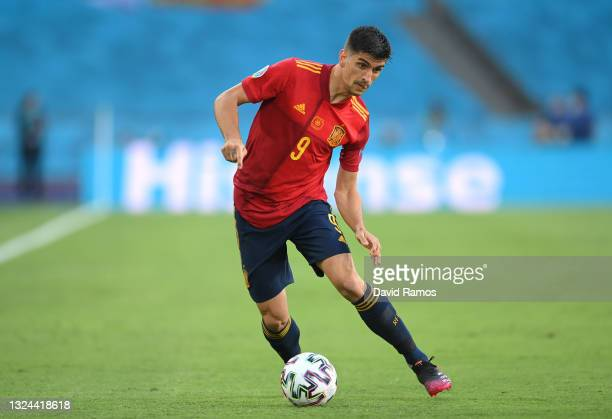 Gerard Moreno of Spain runs with the ball during the UEFA Euro 2020 Championship Group E match between Spain and Poland at Estadio La Cartuja on June...
