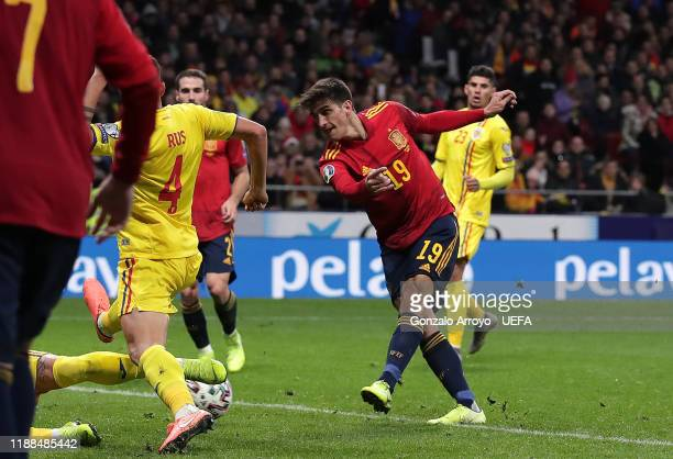 Gerard Moreno of Spain scores his team's third goal during the UEFA Euro 2020 Qualifier between Spain and Romania on November 18 2019 in Madrid Spain