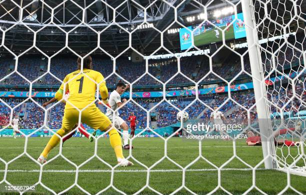 Gerard Moreno of Spain shoots wide during the UEFA Euro 2020 Championship Quarter-final match between Switzerland and Spain at Saint Petersburg...