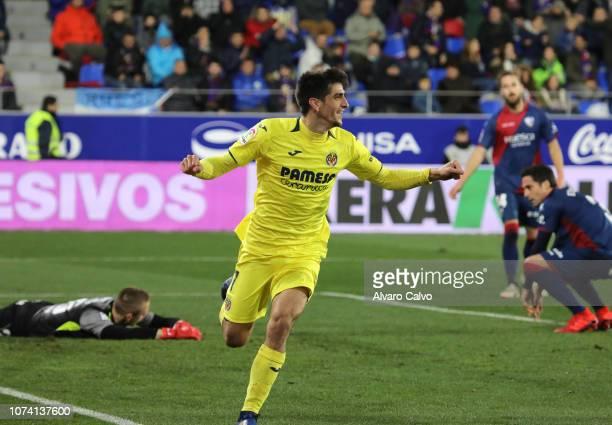 Gerard Moreno of Villarreal celebrates a goal during the La Liga match between SD Huesca and CF Villarreal at El Alcoraz on November 16 2018 in...