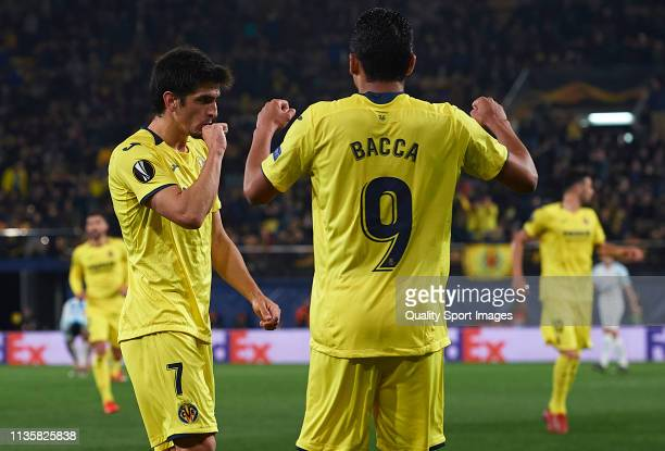 Gerard Moreno of Villarreal celebrates after scoring his team's first goal during the UEFA Europa League Round of 16 Second Leg match between...