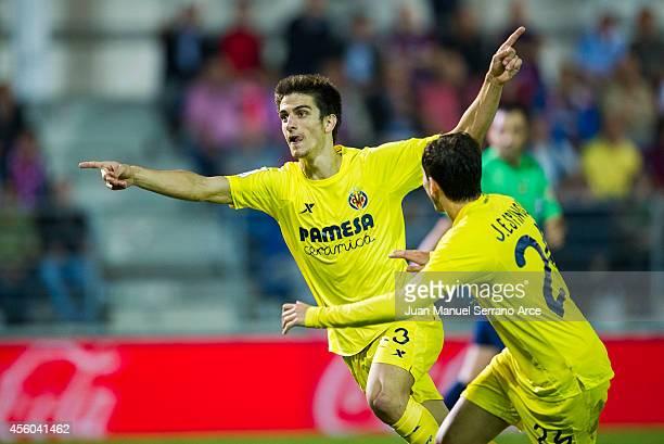 Gerard Moreno of Villarreal celebrates after scoring their first goal during the La Liga match between SD Eibar and Villarreal CF at Ipurua Municipal...