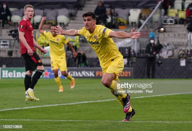 Gerard Moreno of Villarreal celebrates after scoring their team's first goal during the UEFA Europa League Final between Villarreal CF and Manchester...