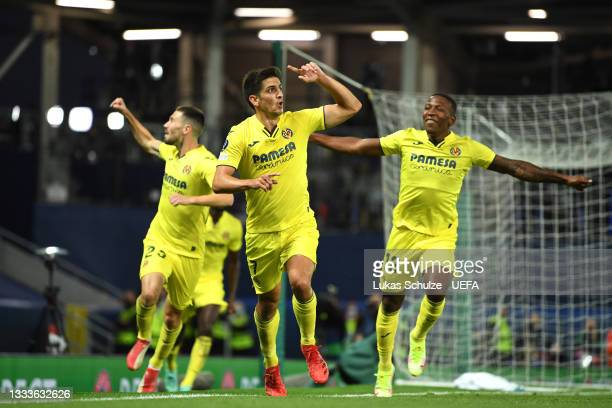Gerard Moreno of Villarreal celebrates after scoring their team's first goal during the UEFA Super Cup 2021 match between Chelsea FC and Villarreal...