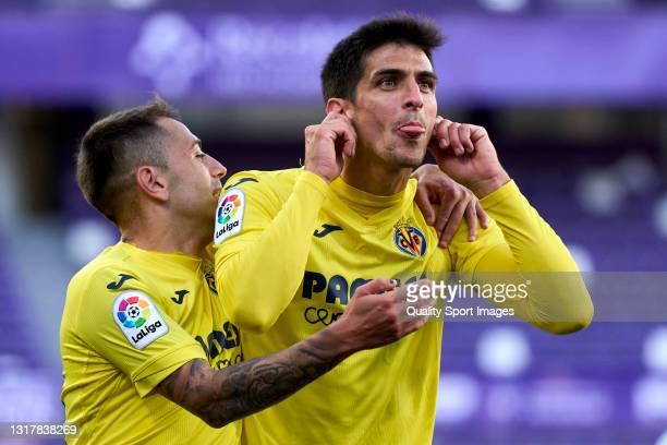 Gerard Moreno of Villarreal CF celebrates after scoring his team's first goal during the La Liga Santander match between Real Valladolid CF and...