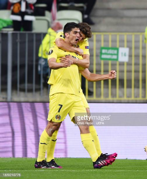 Gerard Moreno of Villarreal CF celebrates after scoring their side's first goal during the UEFA Europa League Final between Villarreal CF and...