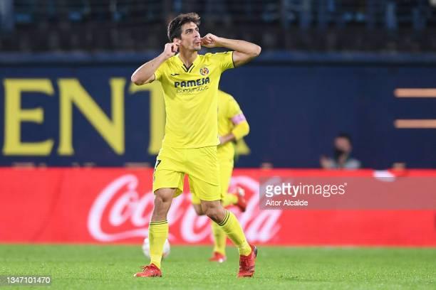 Gerard Moreno of Villarreal CF celebrates after scoring their team's first goal during the LaLiga Santander match between Villarreal CF and CA...