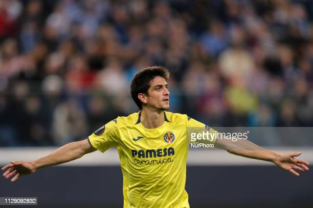 Gerard Moreno of Villarreal CF celebrates his goal during the UEFA Europa League round of 16 First Leg match between Villarreal CF and FC Zenit St...
