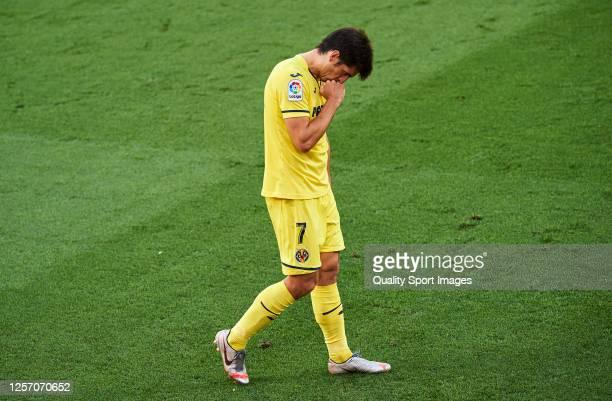 Gerard Moreno of Villarreal CF celebrates scoring his team's goal during the Liga match between Villarreal CF and SD Eibar SAD at Estadio de la...