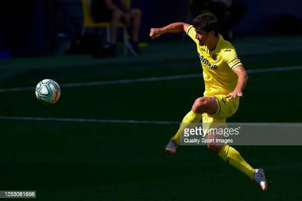 Gerard Moreno of Villarreal CF controls the ball during the Liga match between Villarreal CF and Valencia CF at Estadio de la Ceramica on June 28,...