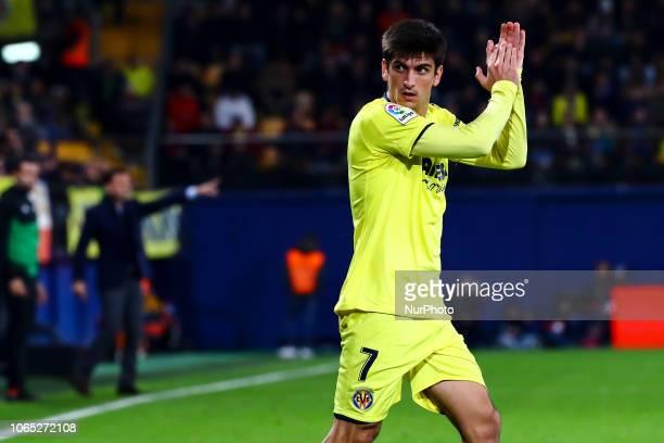 Gerard Moreno of Villarreal CF during the Spanish La Liga Santander soccer match between Villarreal CF vs Real Betis Balompie at La Ceramica Stadium...