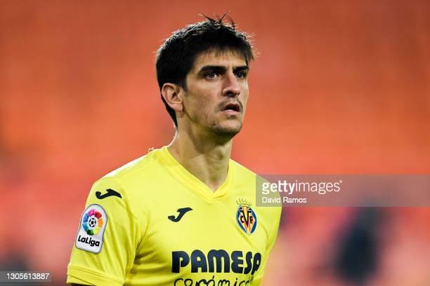 Gerard Moreno of Villarreal CF looks on during the La Liga Santander match between Valencia CF and Villarreal CF at Estadio Mestalla on March 05,...