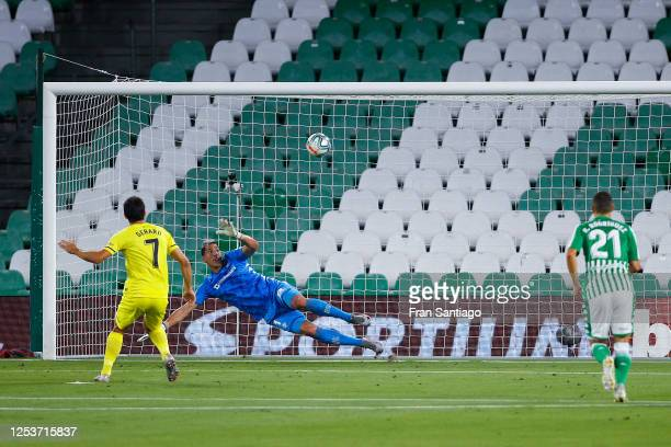 Gerard Moreno of Villarreal CF scores his team's first goal from the penalty spot during the Liga match between Real Betis Balompie and Villarreal CF...
