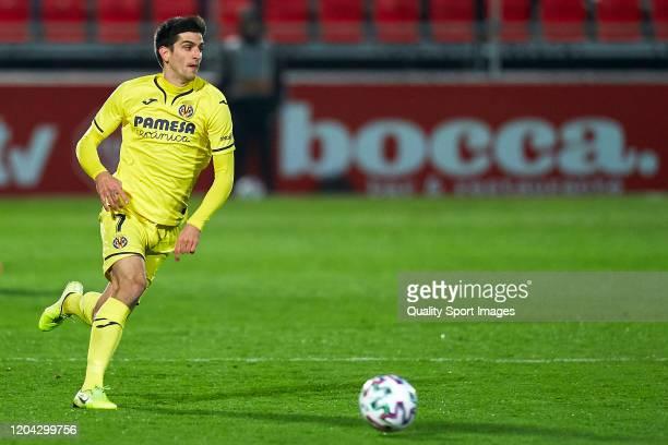 Gerard Moreno of Villarreal CF with the ball during the Copa del Rey Quarter Final match between CD Mirandes and Villarreal CF at Estadio de Anduva...