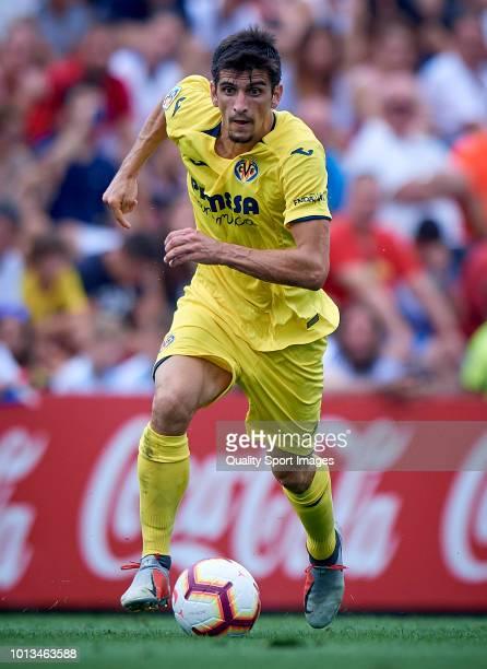 Gerard Moreno of Villarreal in action during the PreSeason Friendly match between Villarreal and Zaragoza at Mini Estadi on August 8 2018 in...