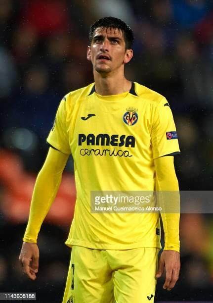 Gerard Moreno of Villarreal looks on during the UEFA Europa League Quarter Final Second Leg match between Valencia and Villarreal at Estadi de...