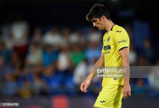 Gerard Moreno of Villarreal reacts during the La Liga match between Villarreal CF and Real Sociedad at Estadio de la Ceramica on August 18 2018 in...