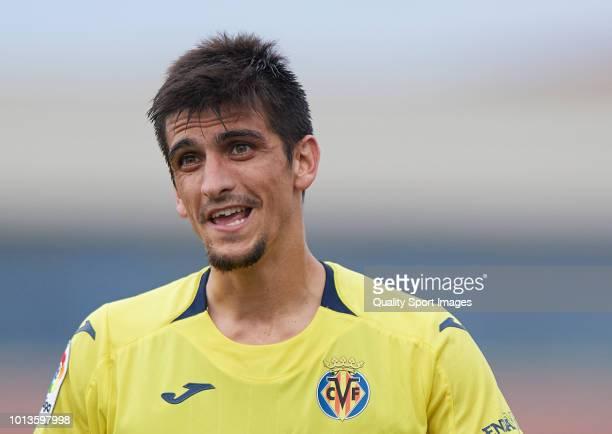 Gerard Moreno of Villarreal reacts during the PreSeason Friendly match between Villarreal and Zaragoza at Mini Estadi on August 8 2018 in Villareal...