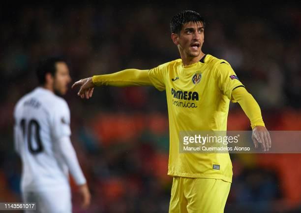 Gerard Moreno of Villarreal reacts during the UEFA Europa League Quarter Final Second Leg match between Valencia and Villarreal at Estadi de Mestalla...