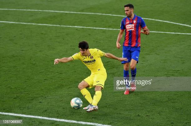 Gerard Moreno of Villarreal scores his team's second goal during the Liga match between Villarreal CF and SD Eibar SAD at Estadio de la Ceramica on...