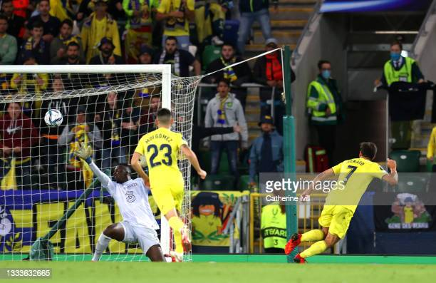 Gerard Moreno of Villarreal scores their team's first goal past Edouard Mendy of Chelsea during the UEFA Super Cup 2021 match between Chelsea FC and...