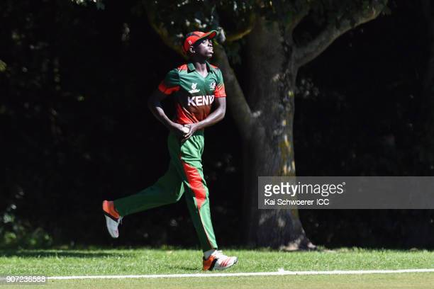 Gerard Mwendwa of Kenya fields the ball during the ICC U19 Cricket World Cup match between the West Indies and Kenya at Lincoln Oval on January 20...