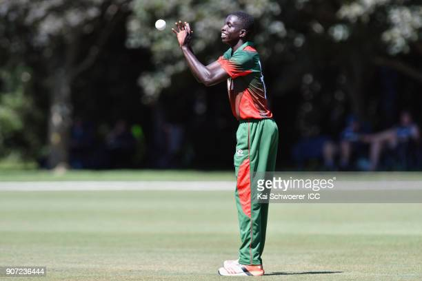 Gerard Mwendwa of Kenya looks on during the ICC U19 Cricket World Cup match between the West Indies and Kenya at Lincoln Oval on January 20 2018 in...