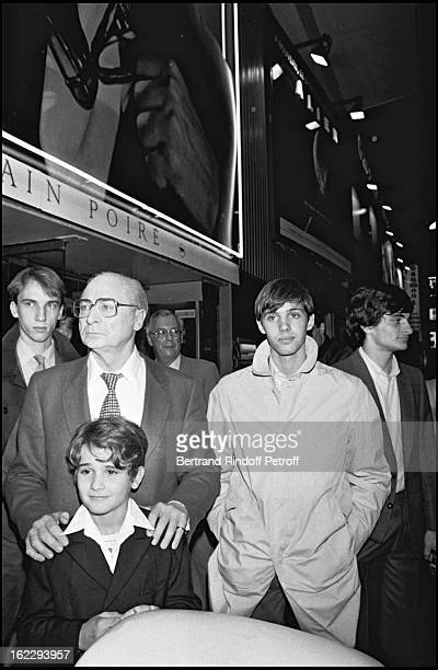 Gerard Oury Rachid Ferrache and Paul Belmondo for L' As Des As premiere in Paris 1982