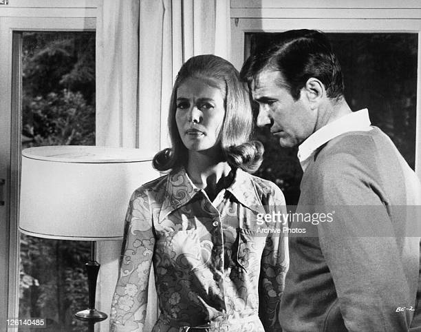 Gerard Parkes with girlfriend Sharon Acker in a scene from the film 'The First Time' 1968