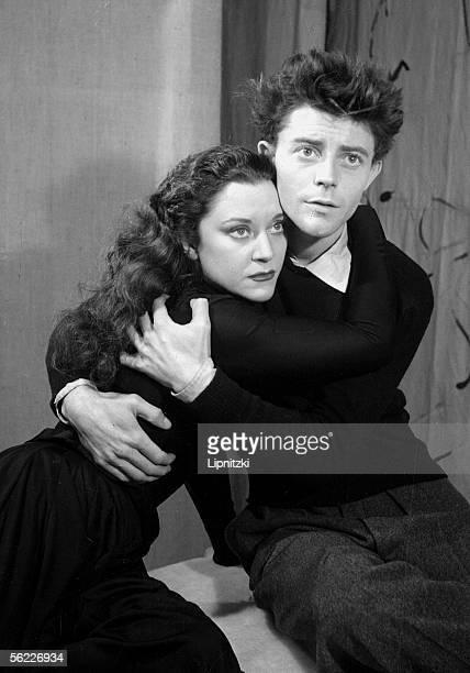 Gerard Philipe and Maria Casares in The Epiphanies of Henri Pichette Paris theatre des Noctambules in November 1947