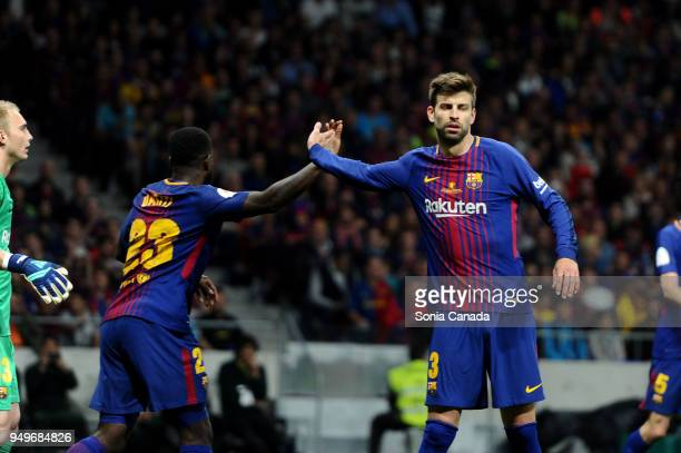 Gerard Pique #3 of FC Barcelona and Samuel Umtiti #23 of FC Barcelona during the Spanish Copa del Rey Final match between Barcelona and Sevilla at...