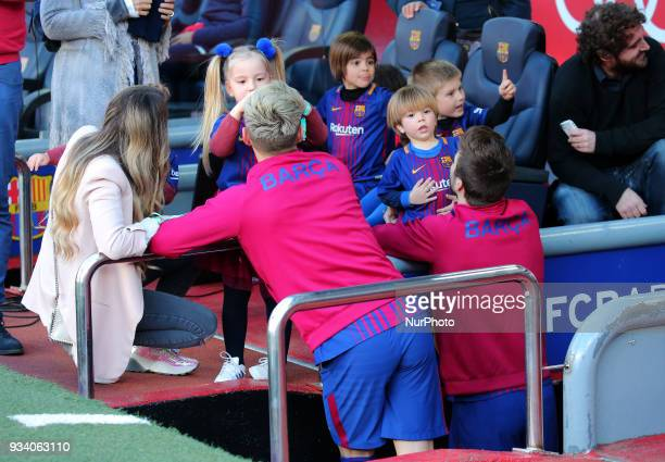 Gerard Pique and Ivan Rakitic with his children before the match between FC Barcelona and Athletic Club played at the Camp Nou Stadium on 18th March...